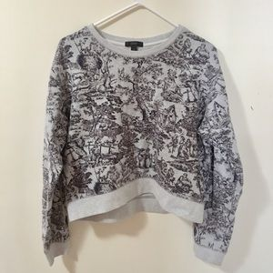 J Crew Toile Cropped Gray Crewneck Sweater
